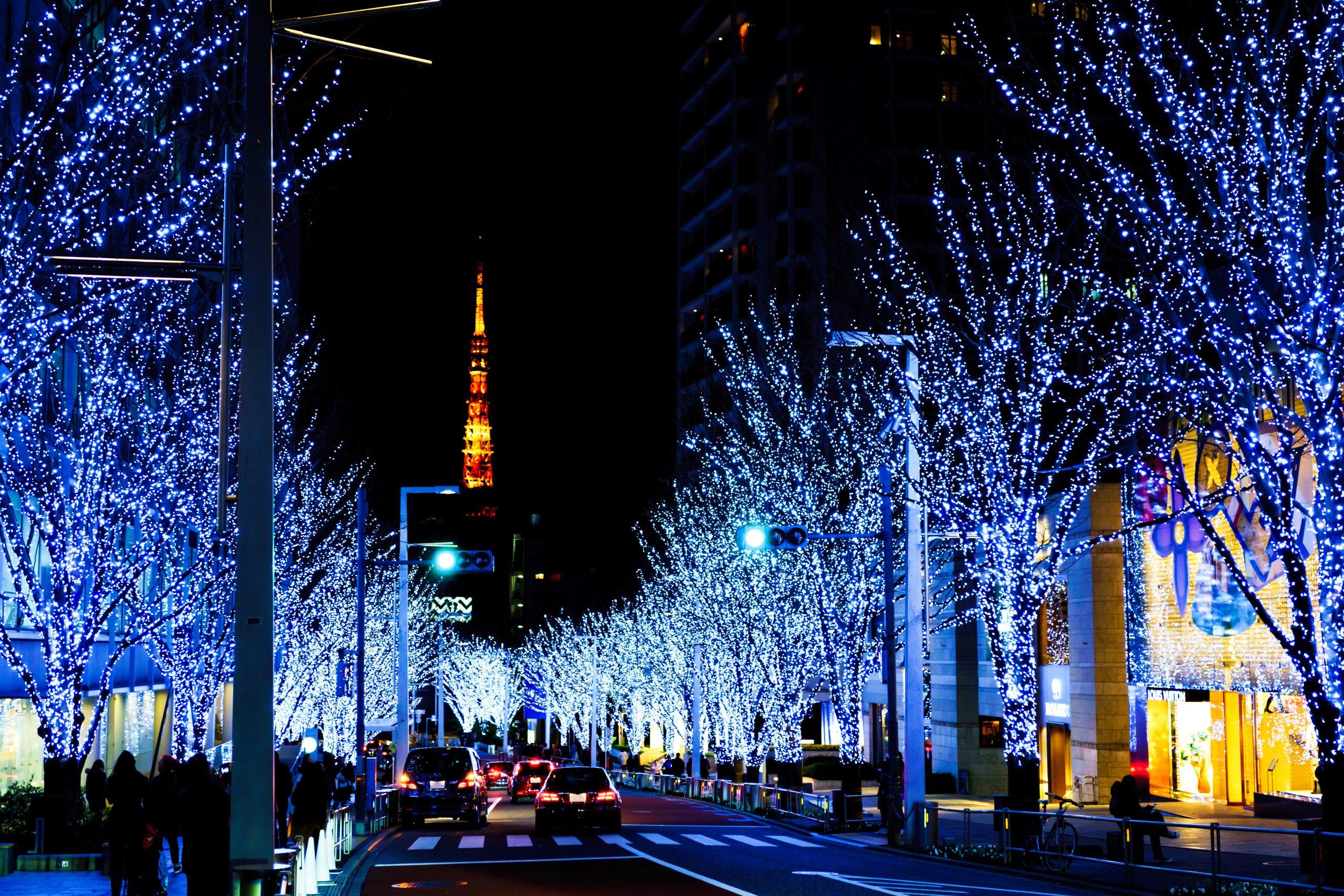 クリスマスイメージ:六本木ヒルズ前の冬の風物詩 けやき坂通りの幻想的なイルミネーションと東京タワー