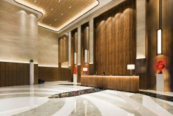 3d rendering grand luxury hotel reception hall and lounge restaurant with high ceiling