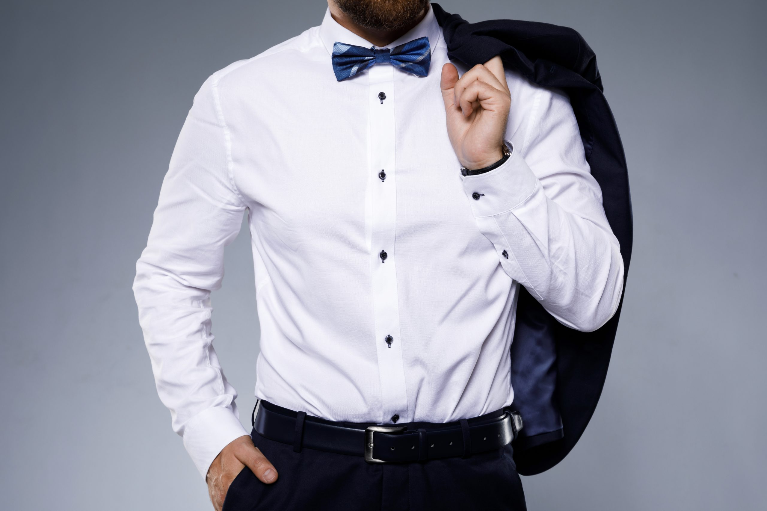 Stylish man wearing bow tie